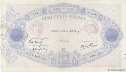 500 Francs BLEU ET ROSE modifié FRANCE  1939 F.31.24 TB+