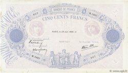 500 Francs BLEU ET ROSE modifié FRANCE  1939 F.31.35 pr.TTB