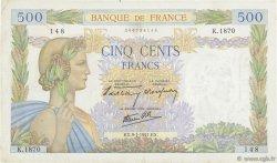 500 Francs LA PAIX FRANCE  1941 F.32.12 TTB