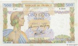 500 Francs LA PAIX FRANCE  1941 F.32.22 TB+
