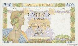 500 Francs LA PAIX FRANCE  1941 F.32.25 TTB+