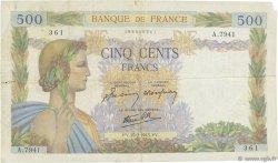 500 Francs LA PAIX FRANCE  1943 F.32.45 TB