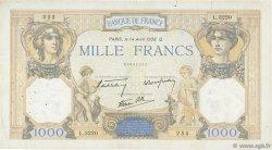1000 Francs CÉRÈS ET MERCURE type modifié FRANCE  1938 F.38.11 B+
