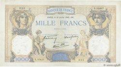 1000 Francs CÉRÈS ET MERCURE type modifié FRANCE  1940 F.38.50 TB