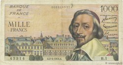 1000 Francs RICHELIEU FRANCE  1953 F.42.01 pr.TB