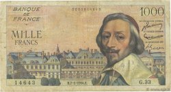 1000 Francs RICHELIEU FRANCE  1954 F.42.04 B+