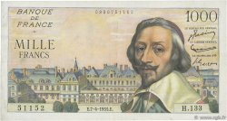 1000 Francs RICHELIEU FRANCE  1955 F.42.12 TTB