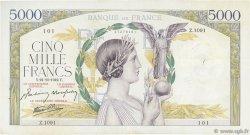 5000 Francs VICTOIRE Impression à plat FRANCE  1942 F.46.43 TB+