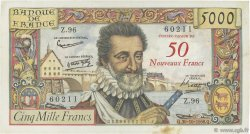 50 NF sur 5000 Francs HENRI IV FRANCE  1958 F.54.01 pr.TTB