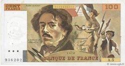 100 Francs DELACROIX modifié FRANCE  1978 F.69.01d pr.TTB