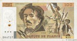 100 Francs DELACROIX modifié FRANCE  1980 F.69.04 TB