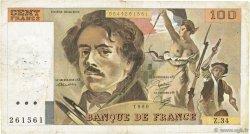 100 Francs DELACROIX modifié FRANCE  1980 F.69.04a pr.TB