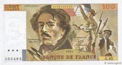 100 Francs DELACROIX modifié FRANCE  1981 F.69.05 TTB+