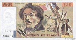 100 Francs DELACROIX imprimé en continu FRANCE  1991 F.69bis.03c1 TTB