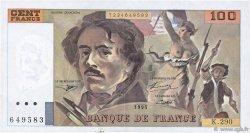 100 Francs DELACROIX 442-1 & 442-2 FRANCE  1995 F.69ter.02c TTB+