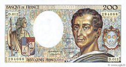 200 Francs MONTESQUIEU FRANCE  1982 F.70.02 TTB+