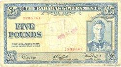 5 Pounds BAHAMAS  1936 P.12b B+