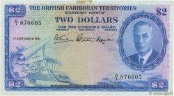2 Dollars CARAÏBES  1951 P.02 TTB+