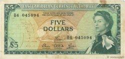 5 Dollars CARAÏBES  1965 P.14e pr.TTB