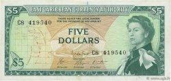 5 Dollars CARAÏBES  1965 P.14g TTB