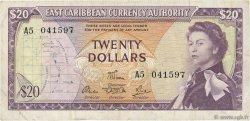 20 Dollars CARAÏBES  1965 P.15e TTB