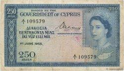 250 Mils CHYPRE  1955 P.33a TB