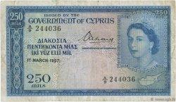 250 Mils CHYPRE  1957 P.33a B+