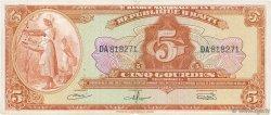 5 Gourdes HAÏTI  1967 P.192a TTB
