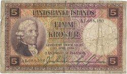 5 Kronur ISLANDE  1928 P.27b TB