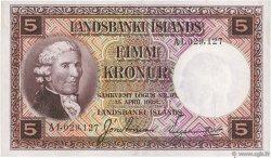 5 Kronur ISLANDE  1945 P.27b TTB+