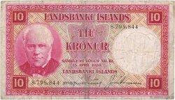 10 Kronur ISLANDE  1946 P.33a TB