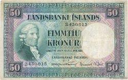 50 Kronur ISLANDE  1948 P.34a TB