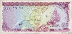 20 Rufiyaa MALDIVES  1983 P.12a TB