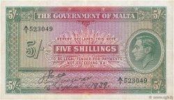 5 Shillings MALTE  1939 P.12 TTB