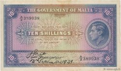 10 Shillings MALTE  1939 P.13 TTB
