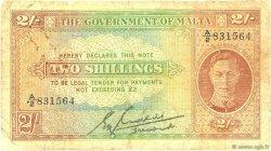 2 Shillings MALTE  1942 P.17b B+