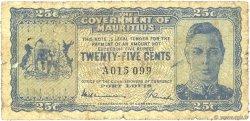 25 Cents ÎLE MAURICE  1940 P.24a B+