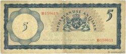 5 Gulden ANTILLES NÉERLANDAISES  1962 P.01a TB à TTB