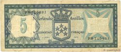 5 Gulden ANTILLES NÉERLANDAISES  1972 P.08b TB+