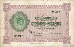 5 Rupees SEYCHELLES  1942 P.08 TB