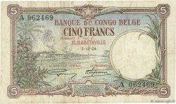 5 Francs CONGO BELGE  1924 P.08a TB
