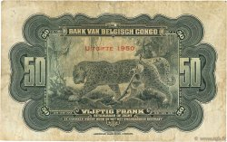 50 Francs CONGO BELGE  1950 P.16h B à TB
