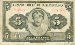 5 Francs LUXEMBOURG  1944 P.43a TB
