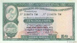 10 Dollars HONG KONG  1972 P.182g SPL