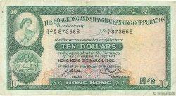 10 Dollars HONG KONG  1982 P.182j TB+
