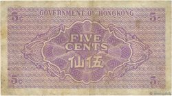 5 Cents HONG KONG  1941 P.314 TB