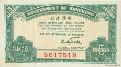 5 Cents HONG KONG  1941 P.314 pr.NEUF