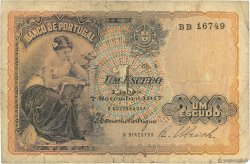 1 Escudo PORTUGAL  1917 P.113a B+