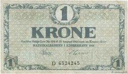 1 Krone DANEMARK  1918 P.012d TB+