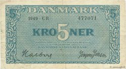 5 Kroner DANEMARK  1949 P.035f TB+